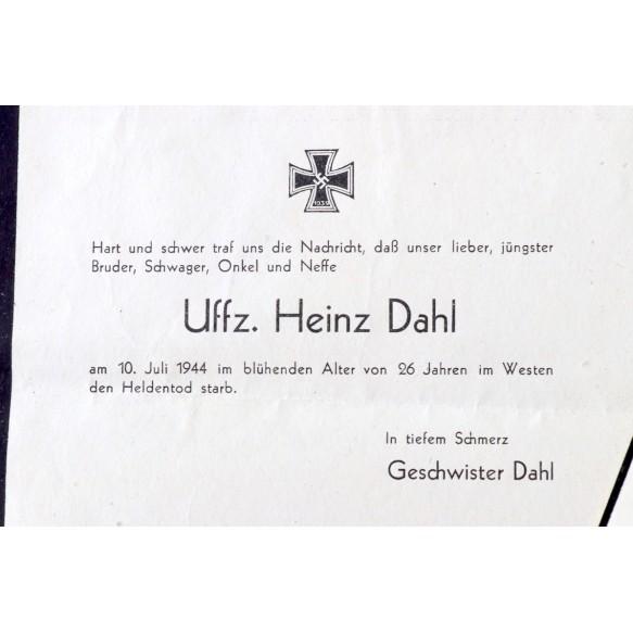 Death Card + enveloppe to Uffz. H. Dahl, KIA July 1944 in Westen