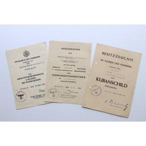 Award document group to O.Gefr. W. Stemmler, 101. Jäger Divison, Kuban 1944