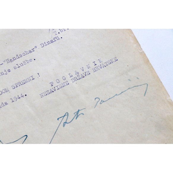 Croatian medal recommendation SS-Handschar, hand signed by the Croatian fascist Ante Pavelić! 1944