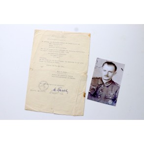 Legion Condor Panzer Badge award certificate duplicate 1940-41