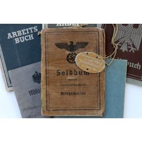 Soldbuch to Kriegsmarine Matrose K. Tetzner, WBiB Aachen 1944 + ID tag