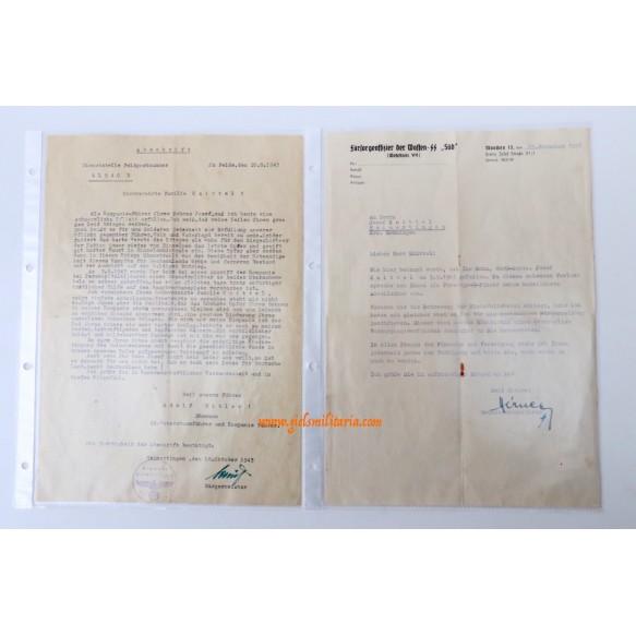 """SS-Pz A.A. """"Das Reich"""" group to SS-Schütze. J. Knittel, Hilversum Holland, KIA Russia 1943"""