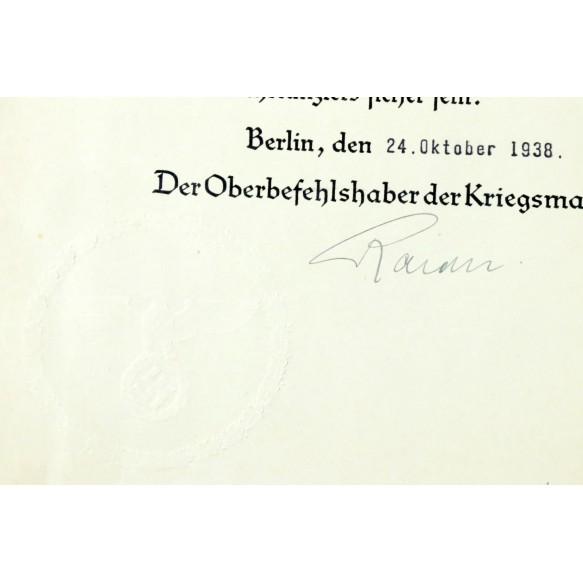 Promotion document Leutnant Henseling, Grossadmiral Erich Raeder signature 1938