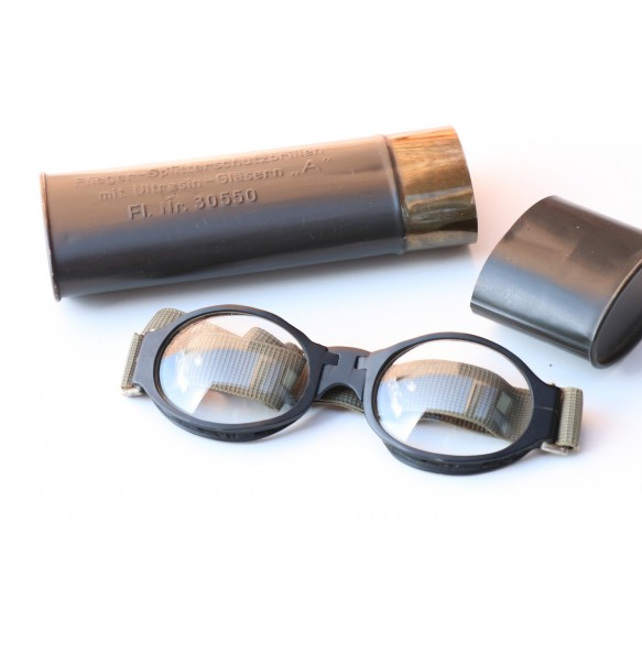 "Luftwaffe pilot glasses ""Splitterschützbrille"" + case"