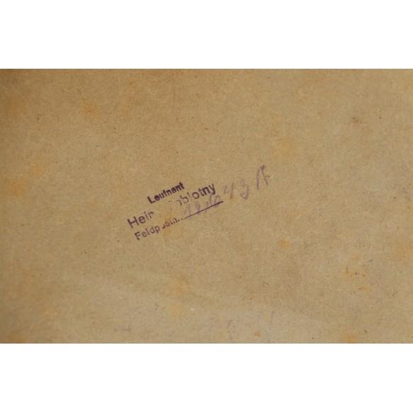Visor cap box to Leutnant H. Sablotny
