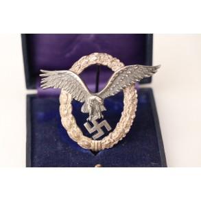 """Luftwaffe pilot badge by C.E. Juncker """"J1"""" + box"""