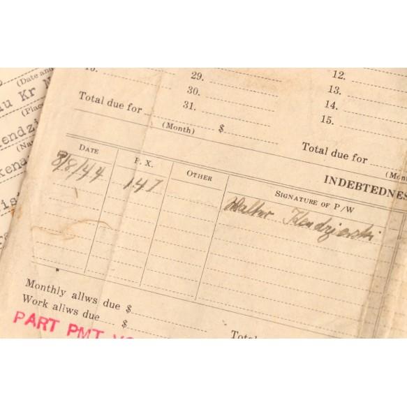 POW (Normandy 1944) capture papers to Obergefr. W. Kendzierski, 3. Res. Flak Scheinwerfer Abteilung 409