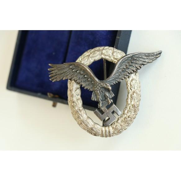 """Luftwaffe pilot badge by C.E. Juncker """"J2"""" + box"""