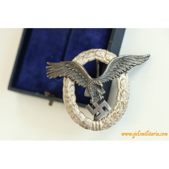 "Luftwaffe pilot badge by C.E. Juncker ""J2"" + box"