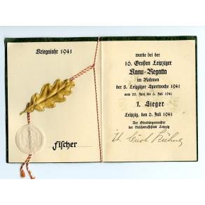 NSRL Canoe championship Leipzig certificate, 1st place!!! 1941