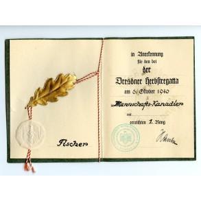 NSRL Canoe championship Dresden certificate, 1st place!!! 1940