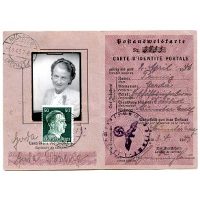 Post identity card to Gerda Penning, French/German 1943