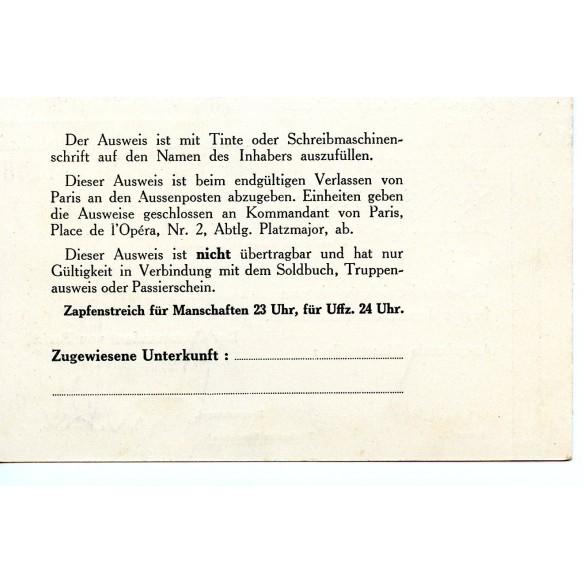 """""""Befristeter Ausweis"""" for Paris 24.4.1941 to Uffz. H. Penning"""