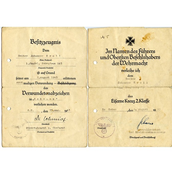 Award documents to Reiter J. Kroll, motorcycle driver in Füs-Bat 83, Aufk. Schw. 183