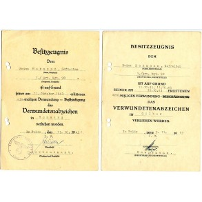 Award document to Gefr. H. Hohmann, Art. Reg. 98, EK2, WIA Gomel 1943