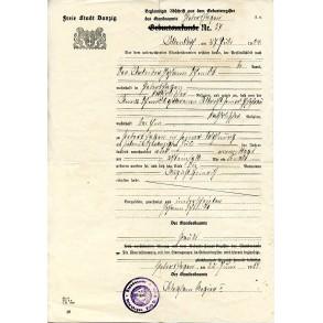 Freie Stadt Danzig identity document