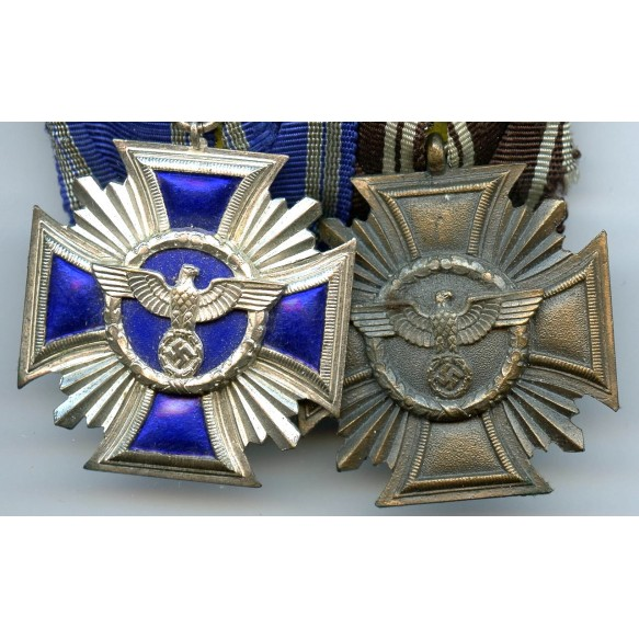 NSDAP 10 + 15 year service medals on medal bar