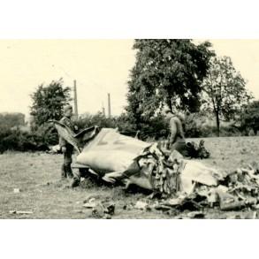 Private snapshot shot down plane Flanders 1940