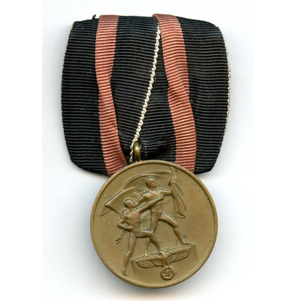 1st oktober Czech annexation medal, single mounted