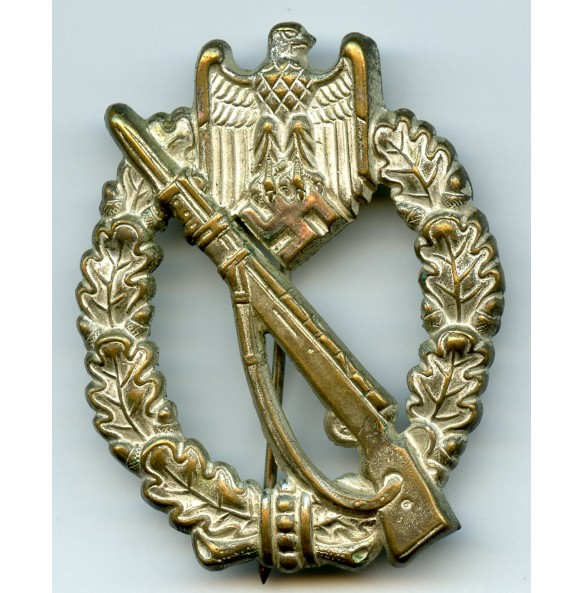 Infantry Assault Badge in silver by Hymmen & Co, early tombac!