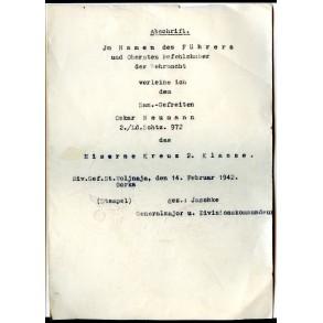 """Iron Cross 2nd class award document """"abschrift"""" to San. Gefr. O. Neumann, Gorka 1942"""