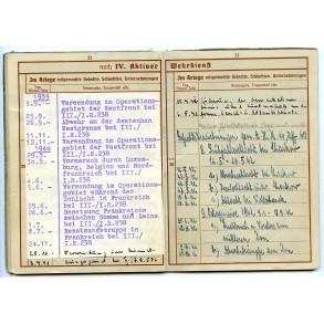 Wehrpass to to K. Metz, Sanitäter, IR238,576 Poland/France, 305.ID Russia.