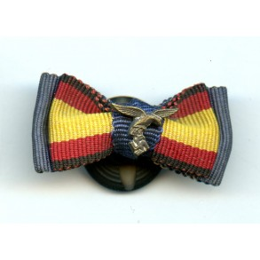 Double button hole ribbon bow, 4 yr LW + Spanish