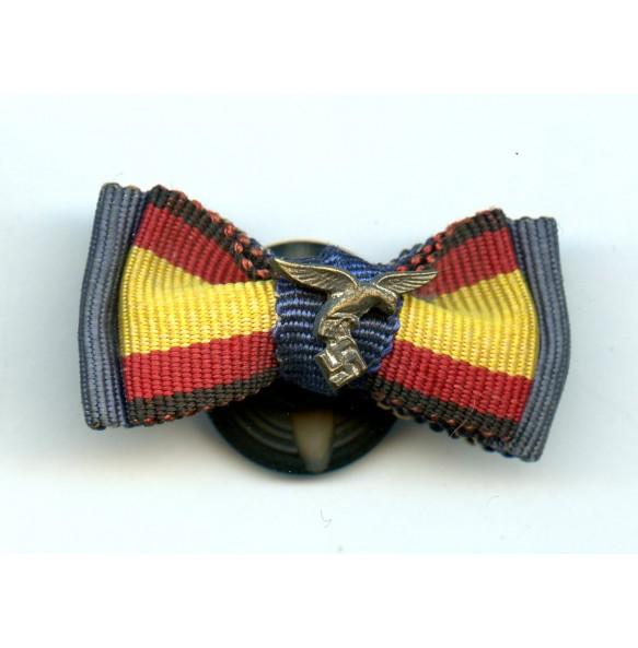 Double button hole ribbon bow, 4 yr LW + Spanish