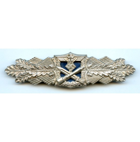 """Close combat clasp in silver by AGMuK """"blue backplate"""""""