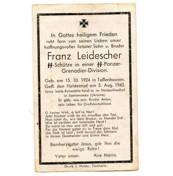 Death card to F. Leidescher, SS-Panzergrenadier KIA Ukraine 1943