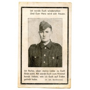 Death card to F. Leidescher, SS-Panzergrenadier KIA Ukraine 1943