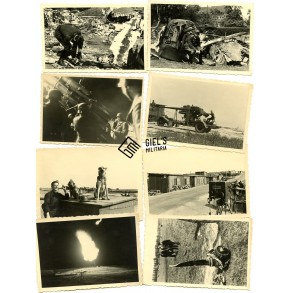 Flak photo lot, crashed Lancaster, dogs, intruments,...