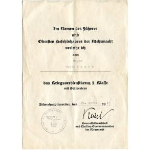 War Merit Cross 2nd class w/ swords award document to Major Knack