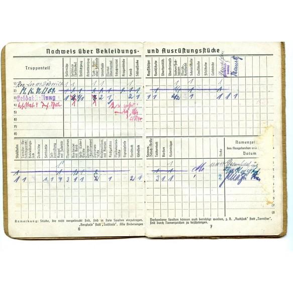 """Soldbuch to Gefr. Walter Seuche, Gren Reg 1147, Pz Rgt """"Grossdeutschland"""" Dorpat 1944"""
