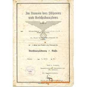 Army 4 year service award document to Uffz. K. Katschmarek, IR 16, signed Hans Kreysing Waalhaven 1940!