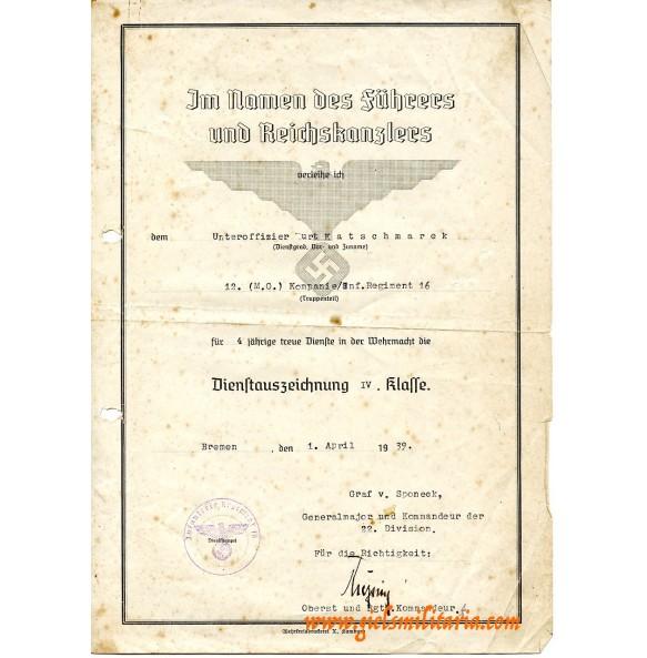 Army 4 year service award document to Uffz. K. Katschmarek, IR 16, signed Hans Kreysing Waalhaven 1940!