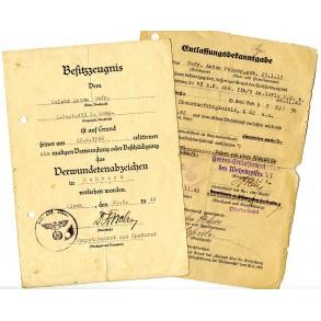 Wound badge award document to Gefr. A. Pelzer, WIA Rshew 1942