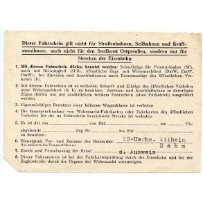 """Waffen SS """"Fahrschein"""" to LSSAH member SS-Uscha. W. Dahm, April 1945!!!"""