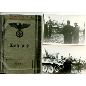 Wehrpass to J. Lucas, s.Pz.Abt 505, EK1, Smolensk, Witebsk,...TIGER