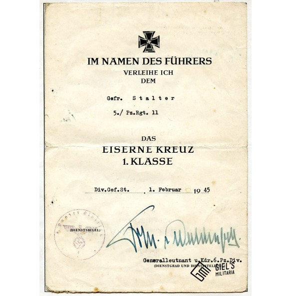 Iron Cross 1st class award document to Gefr. Stalter, Pz. Rgt. 11, Hungary 1945