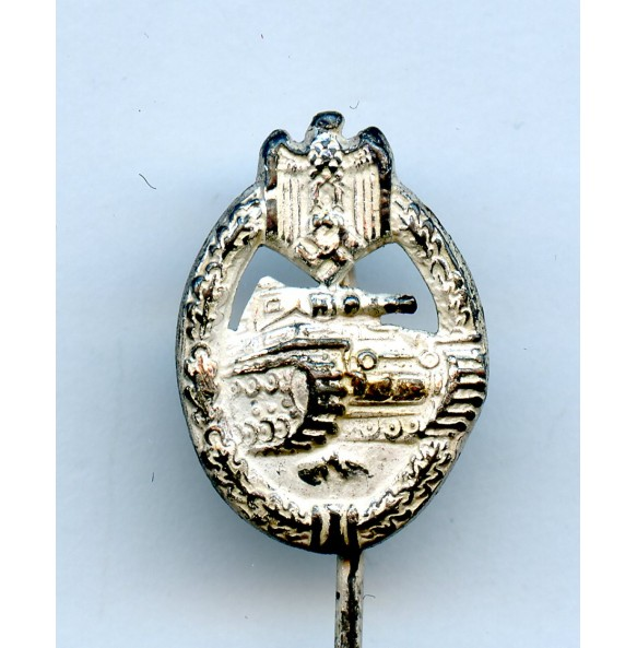 Panzer assault badge in silver 16mm miniature hollow variant