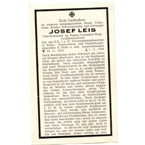 Death card to J. Leis, Pz. Grossdeutschland, EK1, PAB25, KIA 1944
