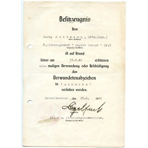 "Wound badge in black award document to G. Rottmann, Flakregiment ""Ledion Condor"""