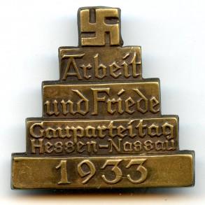 """Tinnie """"Arbeit und Friede, Gaupareitag Hessen-Nassau 1933"""""""