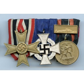 Medal bar KVK2, 25 year service and annexation medal + Prague bar