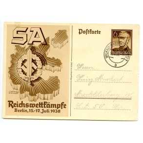 SA postcard with SA sports badge 1938
