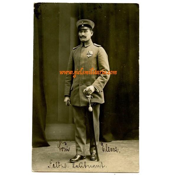 WW1 portrait with medal bar in wear