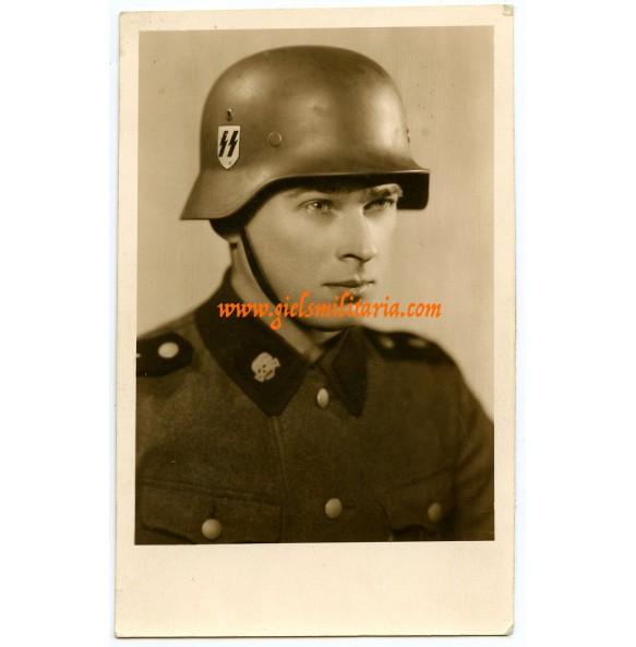 Portrait SS Totenkopf member with helmet