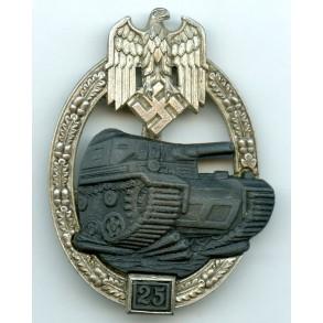 Panzer assault badge in silver 25 assaults by J. Feix