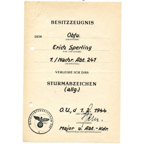 General assault badge award document to Obfu. E. Sperling, Nachr. Abt. 241